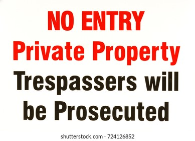 Private Property sign in red and black type