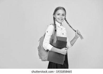 Private schooling. Teen with backpack. Cute smiling schoolgirl. Girl little schoolgirl carry backpack. Pupil with long braids going to school. Totally ready. Schoolgirl daily life. School club.
