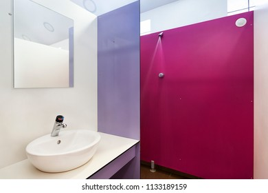 Private shower with sink on a contemporary camping in France