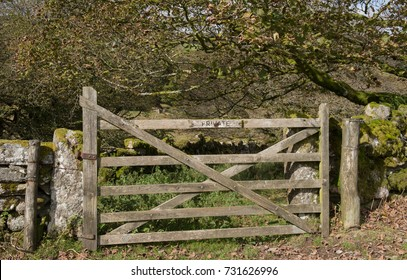 """Private"" Sign Attached to a Fiver Bar Gate on a Farm in the West Dart River Valley Within Dartmoor National Park in Rural Devon, England, UK"