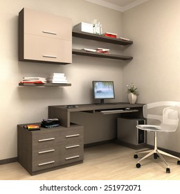 private study, a table with drawers cabinets and private pc