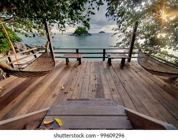 Private terrace with hammocks in tropical.