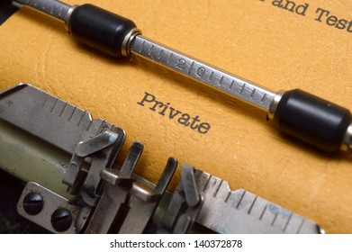 Private text on typewriter