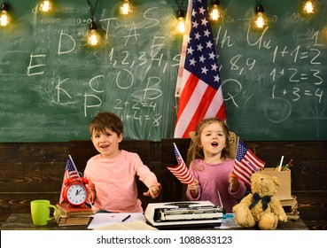 Private tutor might work best to help kid keep up with school. American flag blackboard. Talented child usually needs coaching. Concept with US flag and graduation hat symbol.