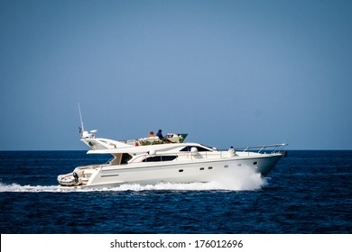 Private yacht cruising on the sea