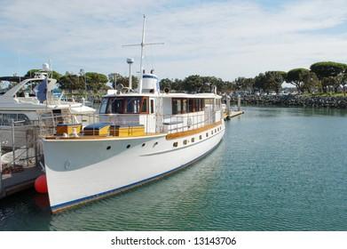 Private yacht in marina; San Diego, California