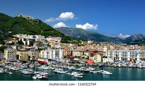 Private yachts, Port of Salerno, Italy - July 2018: private moorings in the Port of Salerno