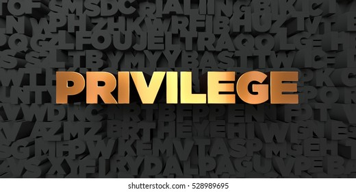 Privilege - Gold text on black background - 3D rendered royalty free stock picture. This image can be used for an online website banner ad or a print postcard.