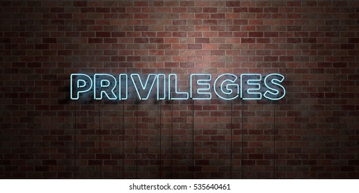 PRIVILEGES - fluorescent Neon tube Sign on brickwork - Front view - 3D rendered royalty free stock picture. Can be used for online banner ads and direct mailers.
