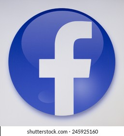 Prizren, Kosovo - January 16, 2015: Social network facebook sign on pc sign