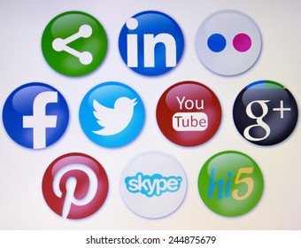 Prizren,Kosovo- January 16, 2015: Social networks, facebook,twitter,pinterest,linkedin,flickr and others on pc screen