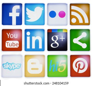 Prizren,Kosovo- January 20, 2015: Social newtorks,facebook,twitter,flickr,linkedin,you tube,pinterest and others on pc screen