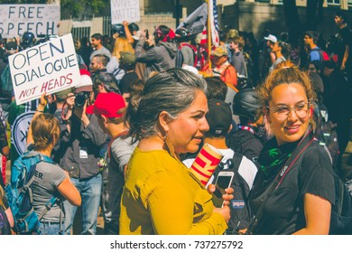 Pro and anti Trump rally ,Provo Park, Berkeley Ca, April 16th 2017