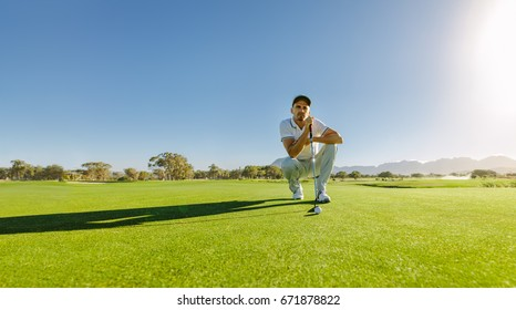 Pro golf player aiming shot with club on course. Male golfer on putting green about to take the shot.