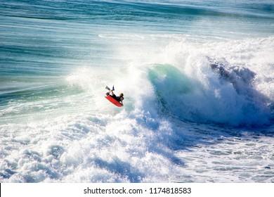 Pro Surfer Bodyboarder Surfing