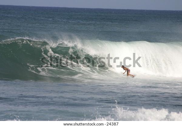 Pro surfer at North Shore