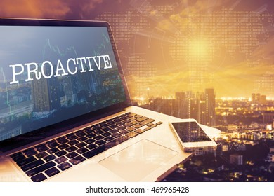 PROACTIVE : Grey screen laptop computer. Vintage effects. Digital Business and Technology Concept.