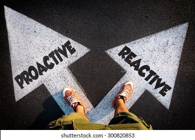 Proactive or Reactive dilemma concept with man legs from above standing on signs