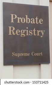 Probate registry sign on a building exterior