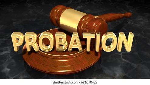Probation Legal Gavel Concept 3D Illustration