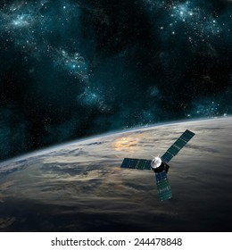A probe investigates a beautiful cloud covered planet in deep space. Clouds swirl over the planet's surface and through its atmosphere. Elements of this image furnished by NASA.