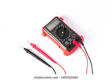 Probe meter red and black, multi meter on white background, isolate background. voltage meter, ohm meter