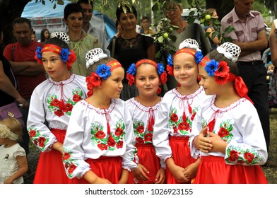 Probizhna - Ternopil - Ukraine - July 17, 2016. Ukrainian folklore and ethnographic holiday village Probizhna. Participants of the holiday go to the venue