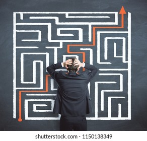 Problem and challenge concept. Businessman with creative maze labyrinth sketch