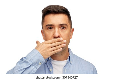 problem, emotion, sorrow and people concept - face of middle aged latin man covering his mouth with hand palm