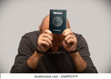 The problem of illegal immigration of refugees from Mexico, Mexican immigrant in handcuffs. Illegal border crossing, border trespasser arrested.