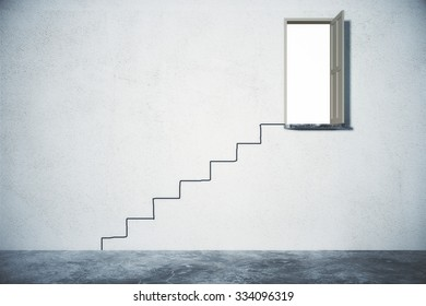 Problem solution concept with staircase leading to open door 3D Render