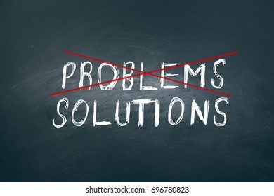 problem or solutions text on board dark background
