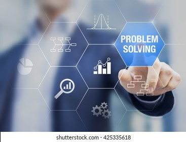 Problem solving concept with root cause diagram and quality controls charts on a transparent touch screen with a businessman in background