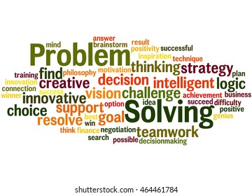 Problem Solving, word cloud concept on white background.