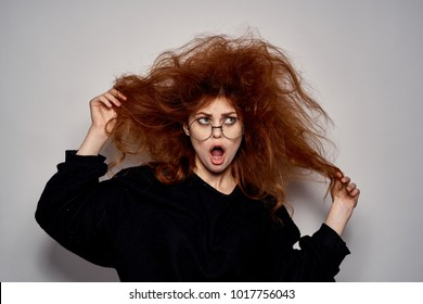 problems with hair, surprised woman
