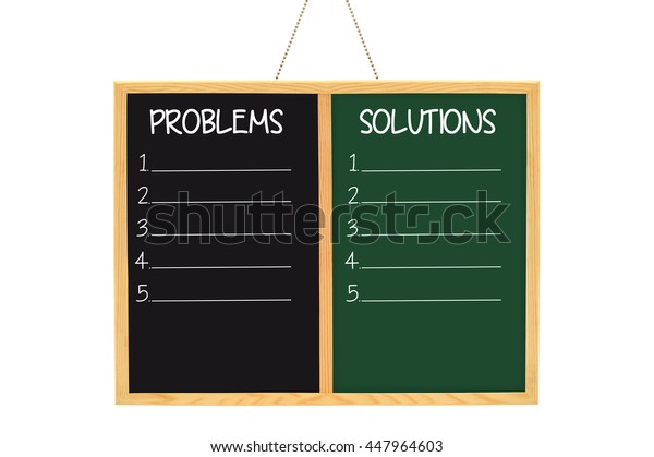 Problems Solutions Blackboard Chalkboard isolated on white background