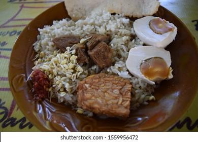 Probolinggo, Jatim / Indonesia - Oktober 18 2019 :  Rice Rawon Mrs. Darmo Probolinggo - Indonesian special food