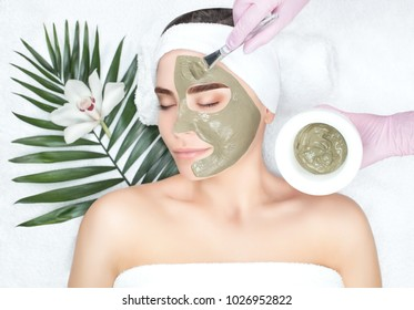 The procedure for applying a mask from clay to the face of a beautiful woman. Spa treatments and care of the face in the beauty salon.