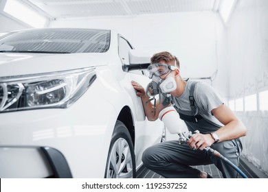 The procedure of painting a car in the service center