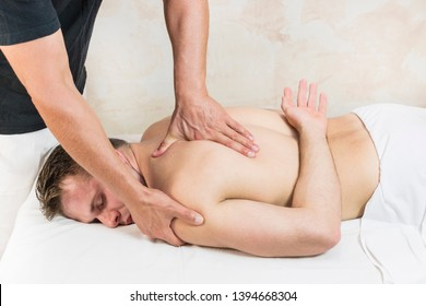 The procedure of sports massage for the restoration of the warden after physical exertion in the sport and fitness complex SPA.