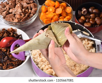 Procedure step of making zongzi or rice dumpling recipe on Dragon Boat Festival, Asian traditional food