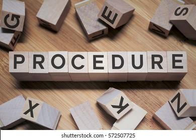 Procedure Word In Wooden Cube