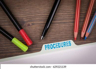 Procedures Concept. Folder Register on a dark wooden desk