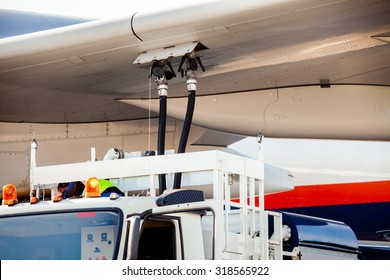 Process of aircraft (airplane) refueling closeup