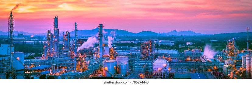 Process area of petroleum and chemical plant , Panorama view and twilight scene of oil refinery plant with beautiful color sky