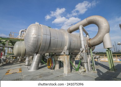 Process area of refining factory with blue sky