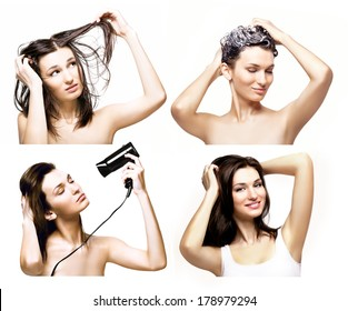 Process of beautiful woman washing and drying her heir, set of photos, isolated on white