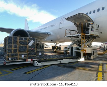 Process of cargo handling. Parcels loading with high loader