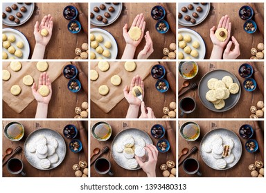 The process of cooking arabic homemade cookies filled with dates. Eid or Ramadan festival concept. Collage recipe step by step, closeup view of top