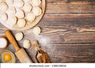 The process of cooking traditional Russian dish - pelmeni